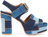 See by Chloe patchwork platform sandals - women - Cotton/Leather - 36