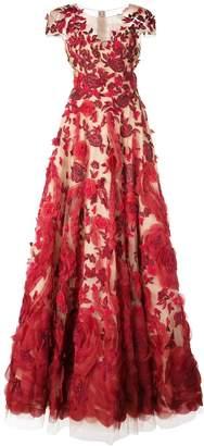 Marchesa floral appliqué gown