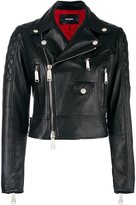 DSQUARED2 ribbed detail biker jacket