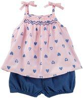 Osh Kosh Baby Girl Heart Tank Top & Bubble Shorts Set