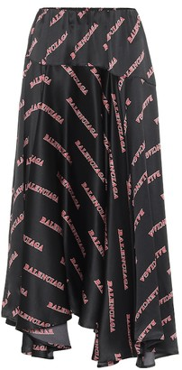 Balenciaga Printed silk-satin midi skirt
