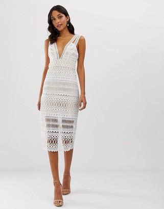 Asos Design DESIGN midi pencil dress in cutwork broderie-Multi