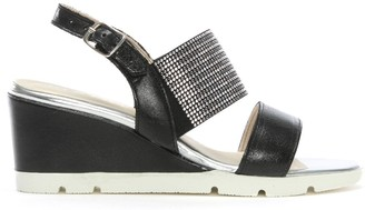 Luparense Lovell Black Leather Jewelled Sling Back Wedge Sandals