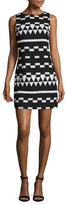 Nicole Miller Crepe Spatial Colorblock Sheath Dress