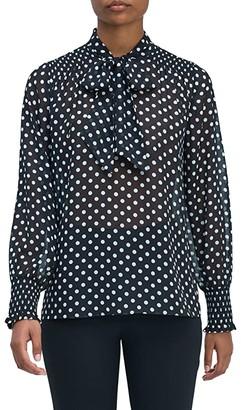 Kate Spade Lady Dot Chiffon Top (Black) Women's Clothing