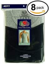 Fruit of the Loom Men's 8Pack Black & Grey A Shirts Tank Tops Undershirts L