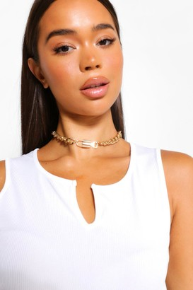 boohoo Lock and Key Chain Choker