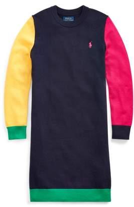 Ralph Lauren Colour-Blocked Wool-Blend Dress