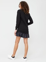 Very Long Sleeve Frill Hem Sweat Dress - Black Floral