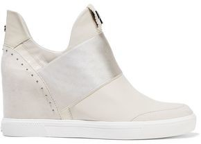 Donna Karan Cailin Suede, Patent And Smooth-leather Wedge Sneakers