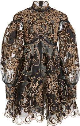 Zimmermann Ladybeetle Fortune Appliqued Tulle Mini Dress