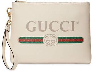 Gucci Logo Print Clutch Bag