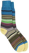 Paul Smith Men's Fuel-Striped Mid-Calf Socks-GREEN