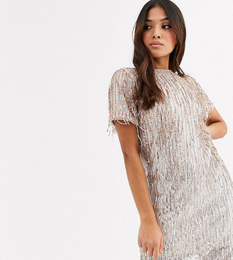 TFNC Petite sequin mini bodycon dress with low back in silver pink