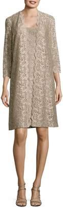 Alex Evenings Metallic Lace Dress and Jacket Set