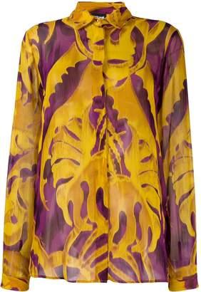 Just Cavalli leaf pattern drape shirt