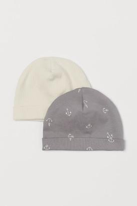 H&M 2-pack Cotton Hats - Beige