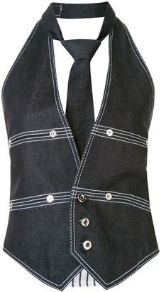 Dice Kayek Top Stitched Denim Halter Vest