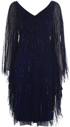 Adrianna Papell Bead Cape Dress