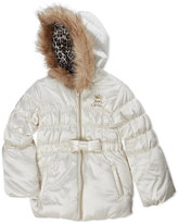 Juicy Couture Girls 4-6x) Cream Faux Fur Trim Hooded Puffer Jacket