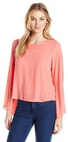 Vince Camuto Women's Bell Sleeve Blouse with Chiffon Yoke
