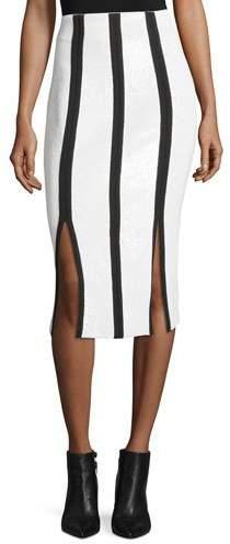 Diane von Furstenberg High-Waist Striped Fitted Sequined Pencil Skirt