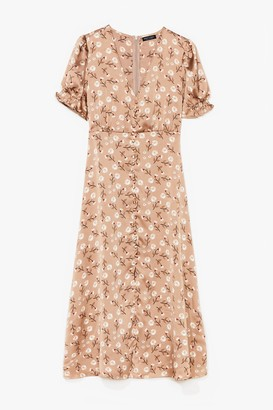Nasty Gal Womens Grow Where You Stand Floral Satin Midi Dress - Brown - S