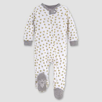 Burt's Bees Baby Be Honey Bee Striped Organic Cotton Sleep 'N Play Footed Pajama - Yellow/White/Black