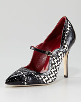 Estipula Houndstooth Pointed-Toe Mary Jane