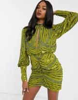 Asos Design DESIGN long sleeve key hole mini with wrap skirt