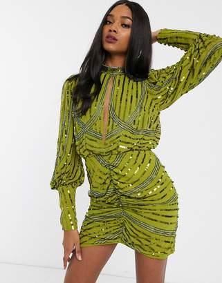 Asos Design DESIGN long sleeve key hole mini with wrap skirt-Green