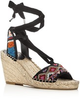 Ash Paola Beaded Ankle Tie Espadrille Wedge Sandals