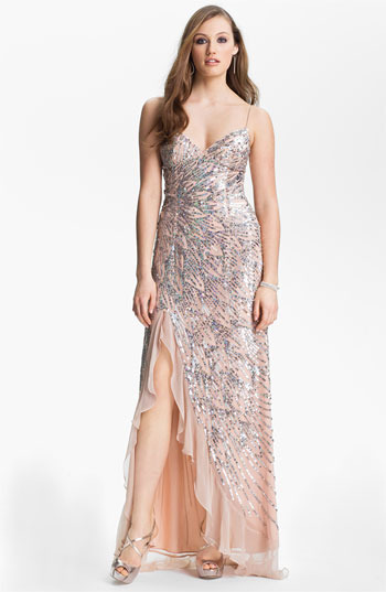 Sean Collection Sequin Chiffon Gown (Online Exclusive)