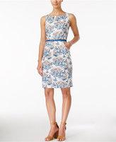 Nine West Sleeveless Belted Printed Sheath Dress