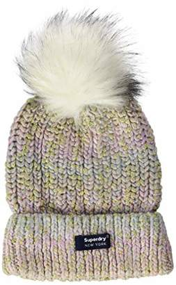 Superdry Women's Sparkle Beanie Balaclava, (Green Ombre Xp8), One (Size: )