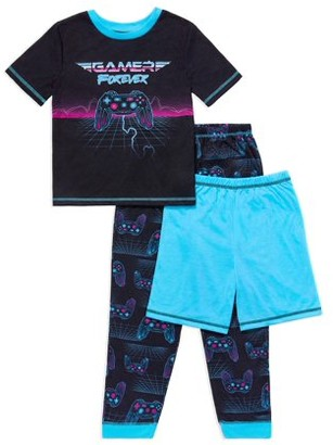 Komar Kids Saint Eve Boys Short Sleeve, Long Pant and Short, 3-Piece Pajama Set Sizes 4-16