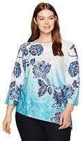 Alfred Dunner Women's Batik Floral Knit Top Slant Hem 3/4 Slv