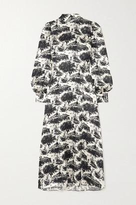 Reformation Maple Printed Silk-satin Midi Dress - White