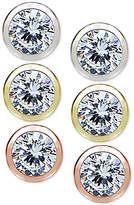 Giani Bernini 3-Pc. Set Cubic Zirconia Bezel Stud Earrings in Sterling Silver, 18k Gold-Plated and 18k Rose Gold-Plated Sterling Silver, Created for Macy's