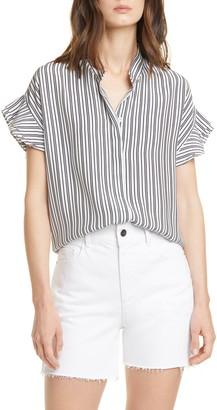 Frame Stripe Flounce Sleeve Silk Shirt
