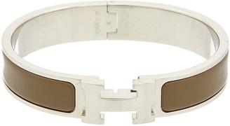 Hermes Palladium-Plated & Brown Enamel Clic-Clac H Bracelet