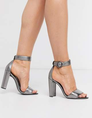 Ted Baker Secataa metallic heeled sandals-Silver