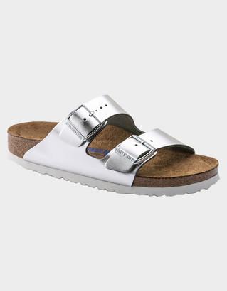 Birkenstock Arizona Soft Footbed Leather Womens Metallic Silver Sandals