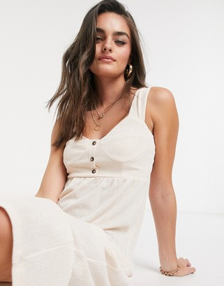 ASOS DESIGN midi sundress with button front in light pink