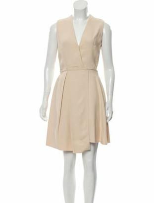 Victoria Beckham Sleeveless Knee-Length Dress Beige