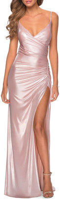 La Femme Lace-Up Back Metallic Jersey Gown