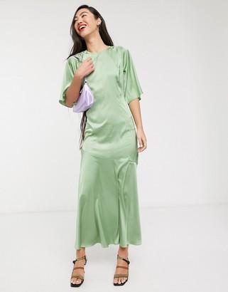 Glamorous midi dress with drop waist in satin