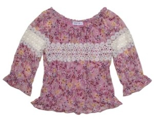 Beautees Girls Peasant Lace Top
