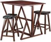 Winsome Wood Harrington 3-Piece Drop Leaf High Table, 2- Cushion Saddle Seat Stools