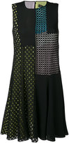 Versace flared perforated detail dress